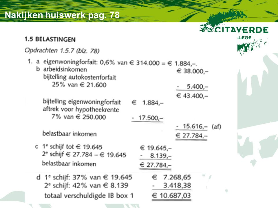 Nakijken huiswerk pag. 78