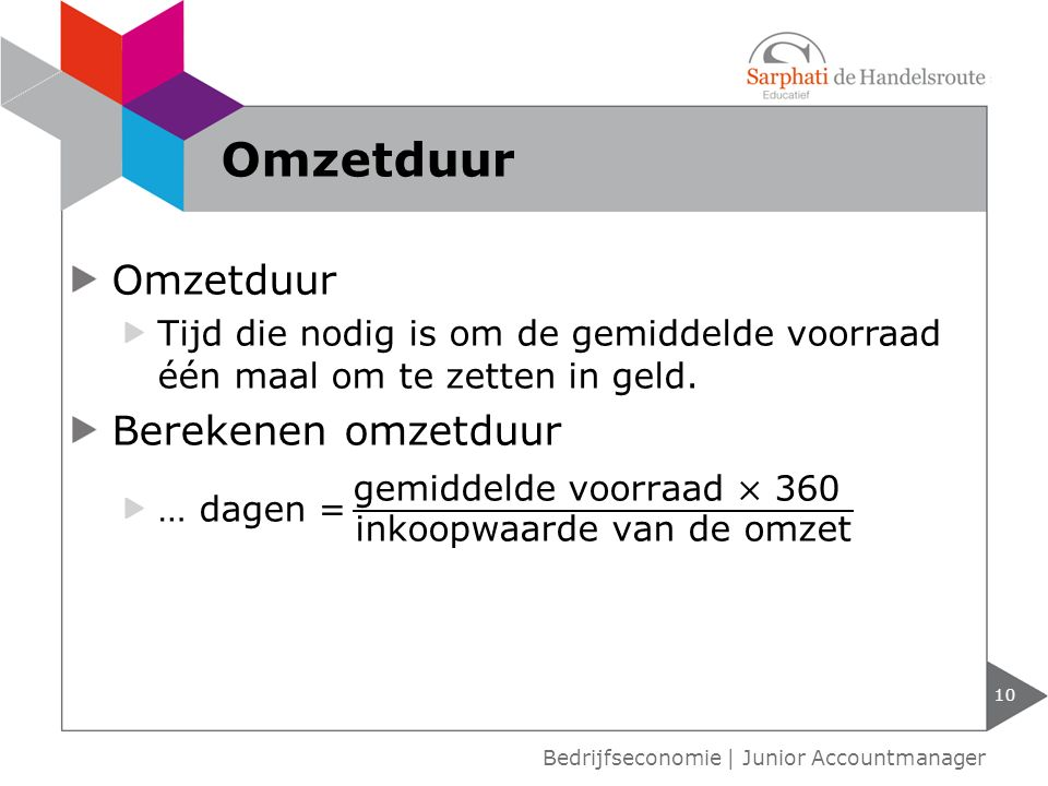 10 Bedrijfseconomie | Junior Accountmanager Omzetduur