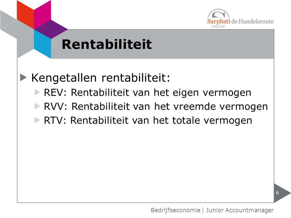 Kengetallen rentabiliteit: REV: Rentabiliteit van het eigen vermogen RVV: Rentabiliteit van het vreemde vermogen RTV: Rentabiliteit van het totale ver