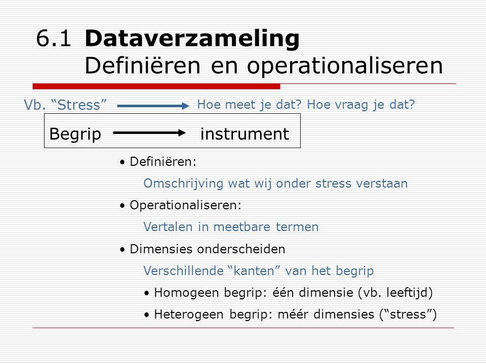 "6.1 Dataverzameling Definiëren en operationaliseren Vb. ""Stress"" Hoe meet je dat? Hoe vraag je dat? Begripinstrument Definiëren: Omschrijving wat wij"