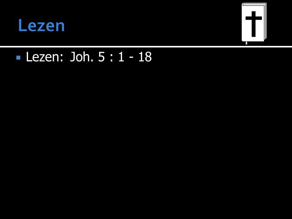  Lezen:Joh. 5 : 1 - 18
