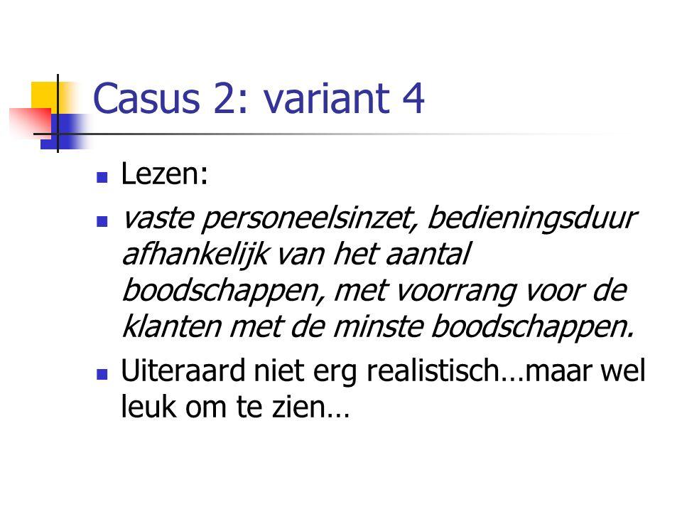 Casus 2: variant 4 Lezen: vaste personeelsinzet, bedieningsduur afhankelijk van het aantal boodschappen, met voorrang voor de klanten met de minste bo