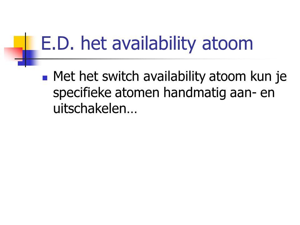 E.D. het availability atoom Met het switch availability atoom kun je specifieke atomen handmatig aan- en uitschakelen…