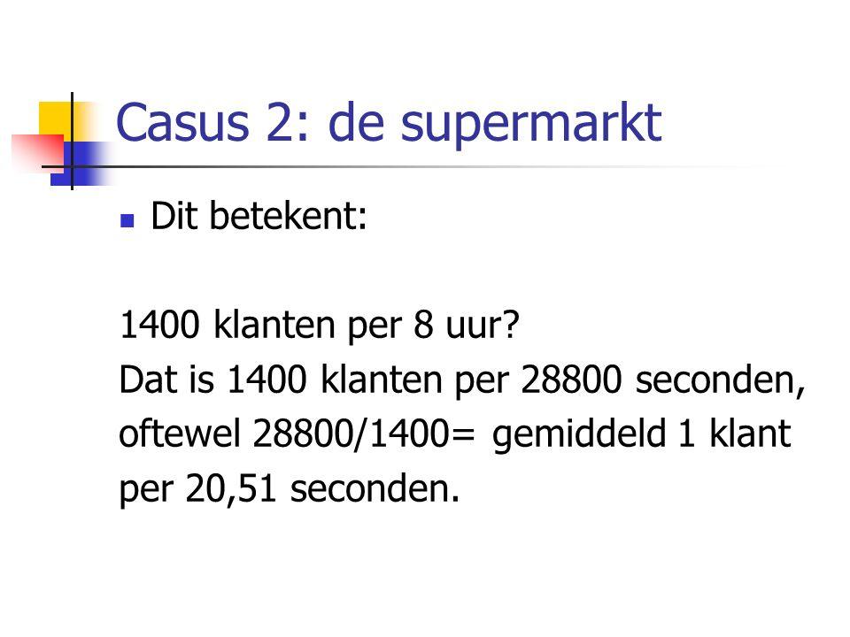 Casus 2: de supermarkt Dit betekent: 1400 klanten per 8 uur? Dat is 1400 klanten per 28800 seconden, oftewel 28800/1400= gemiddeld 1 klant per 20,51 s
