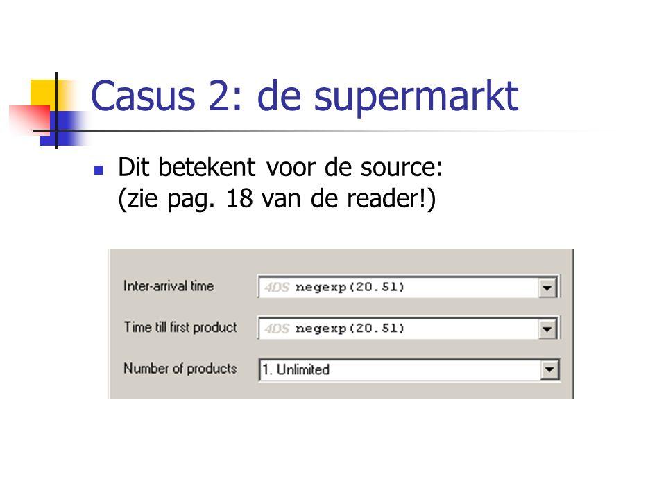 Casus 2: variant 3 Lezen: vaste personeelsinzet, bedieningsduur afhankelijk van het aantal boodschappen en onderscheid naar klanttypen Kassa 1 = snelkassa: aantal boodschappen < 11