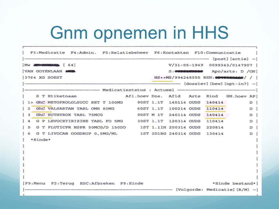 Gnm opnemen in HHS