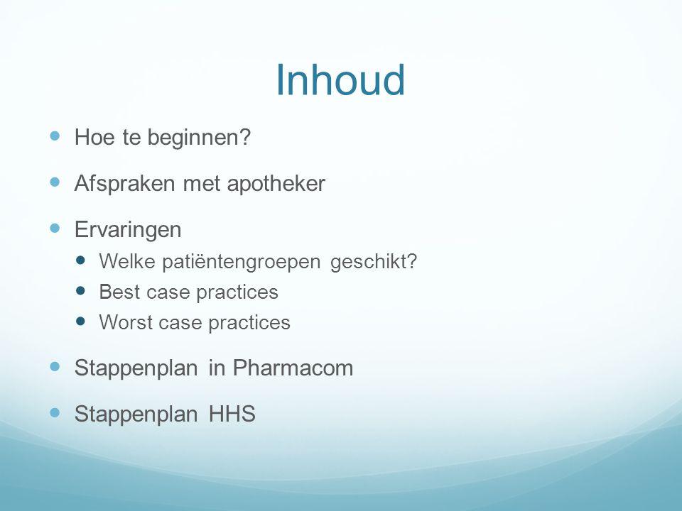 Inhoud Hoe te beginnen. Afspraken met apotheker Ervaringen Welke patiëntengroepen geschikt.