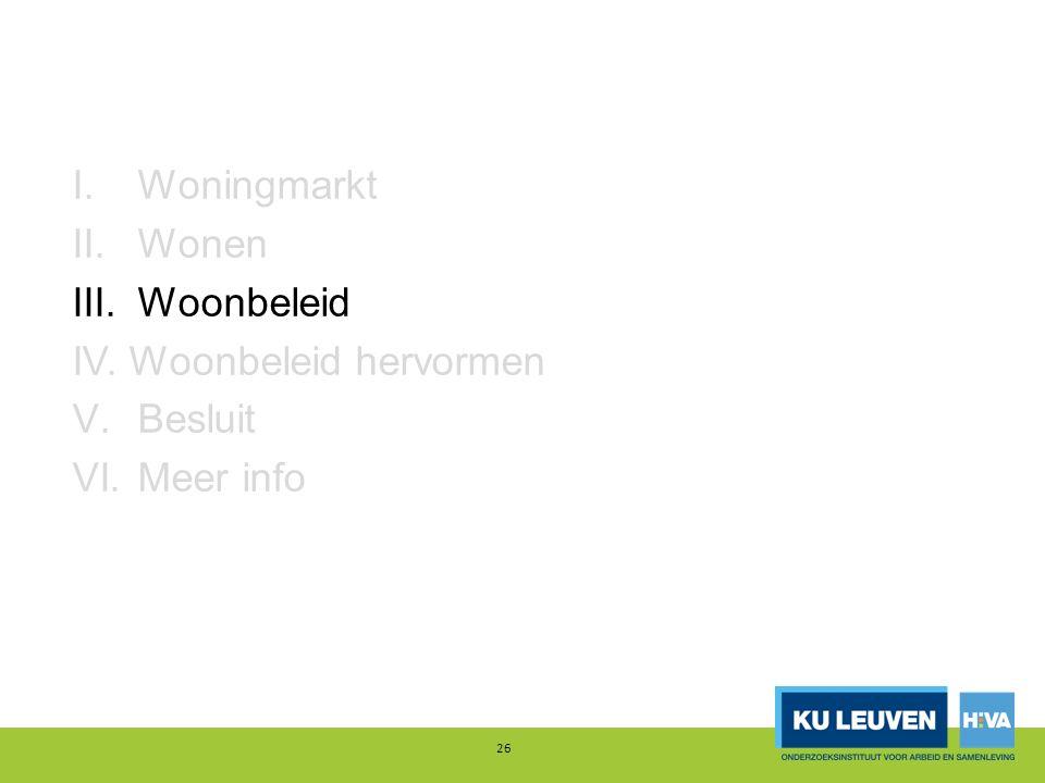 I.Woningmarkt II.Wonen III.Woonbeleid IV. Woonbeleid hervormen V.Besluit VI.Meer info 26