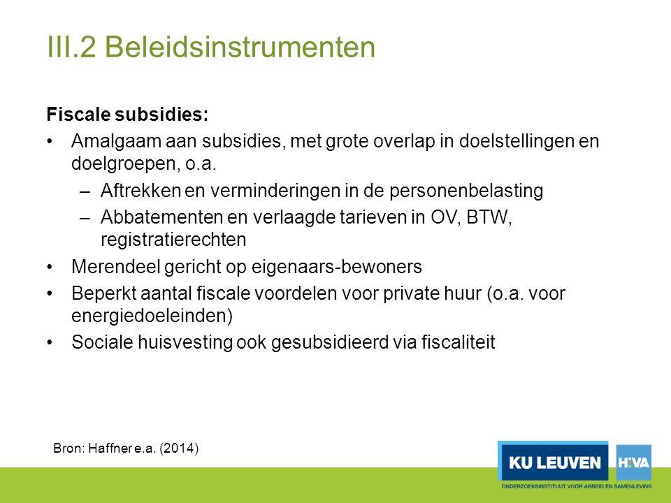III.2 Beleidsinstrumenten Fiscale subsidies: Amalgaam aan subsidies, met grote overlap in doelstellingen en doelgroepen, o.a.