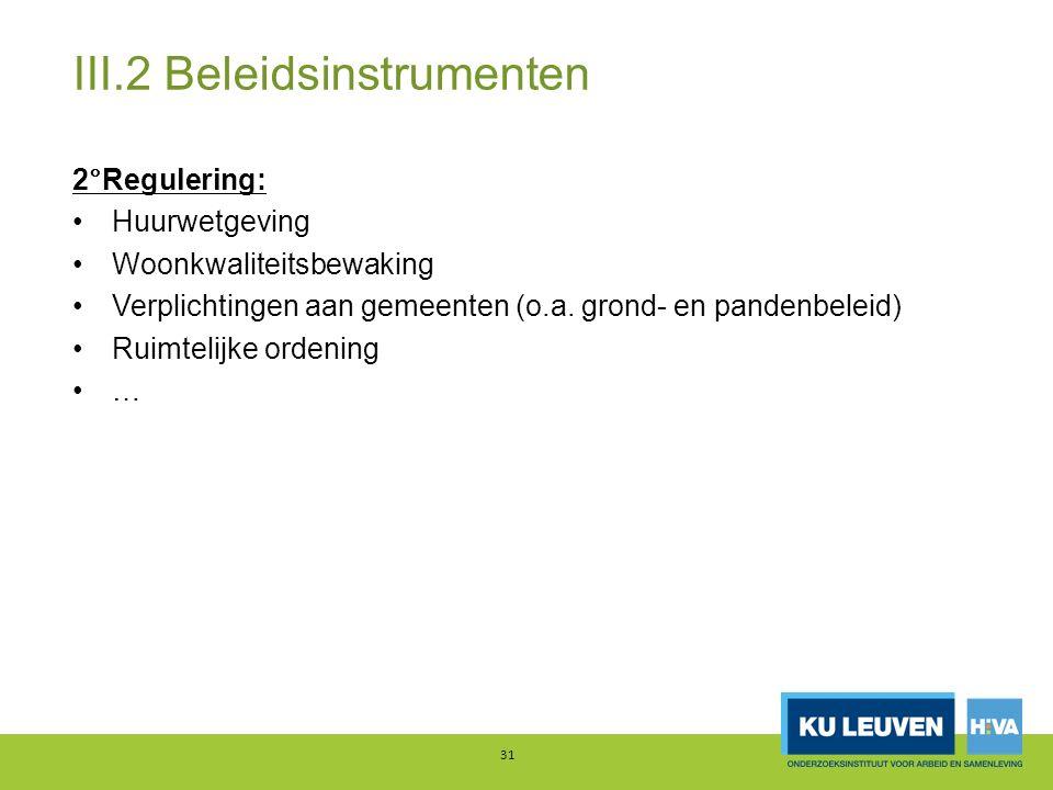 III.2 Beleidsinstrumenten 2°Regulering: Huurwetgeving Woonkwaliteitsbewaking Verplichtingen aan gemeenten (o.a.