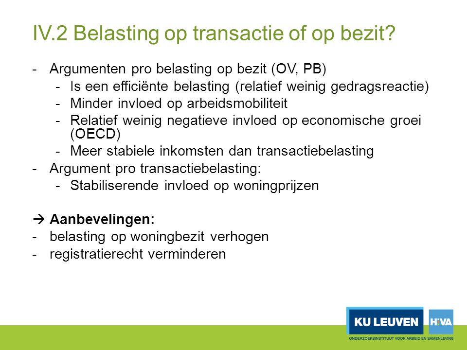 IV.2 Belasting op transactie of op bezit.