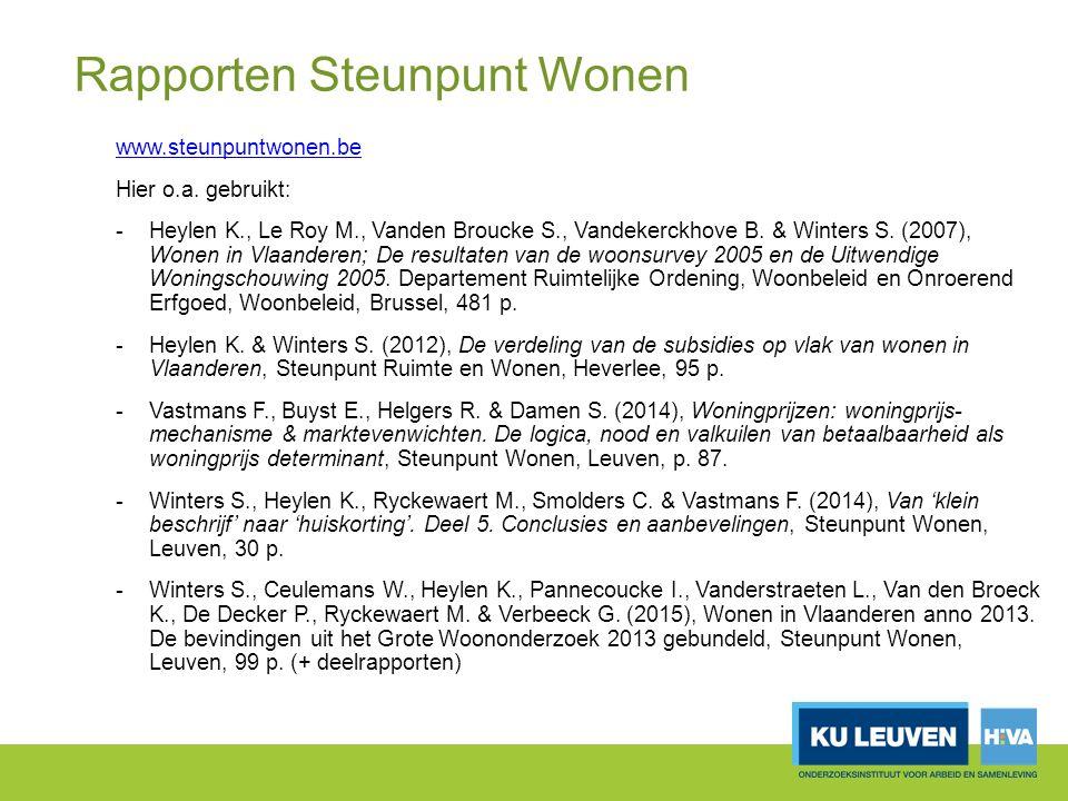 Rapporten Steunpunt Wonen www.steunpuntwonen.be Hier o.a.