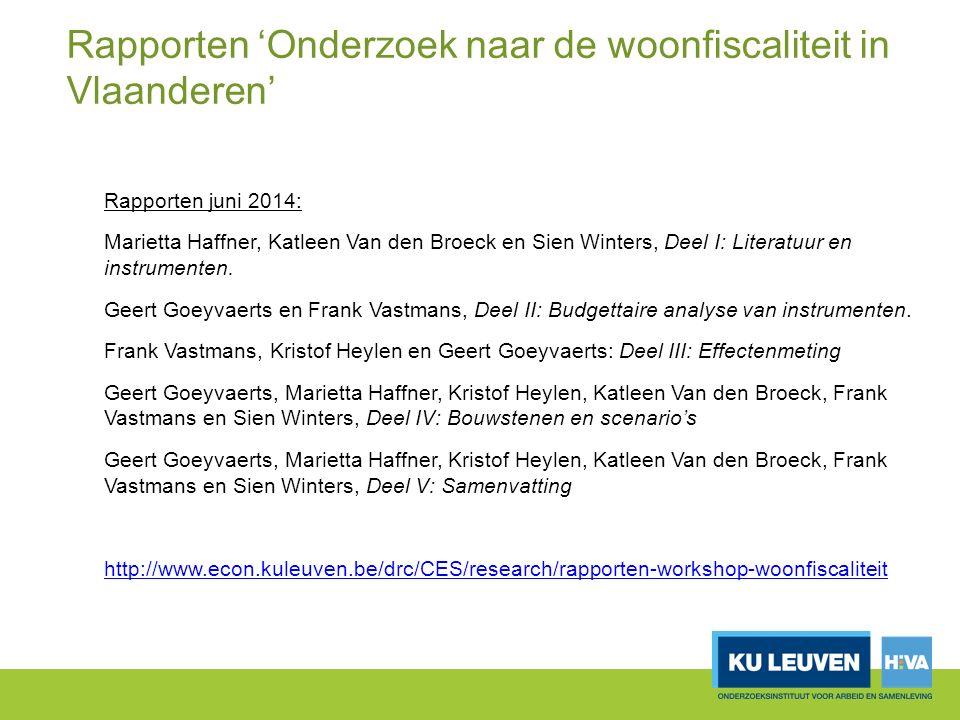 Rapporten 'Onderzoek naar de woonfiscaliteit in Vlaanderen' Rapporten juni 2014: Marietta Haffner, Katleen Van den Broeck en Sien Winters, Deel I: Literatuur en instrumenten.