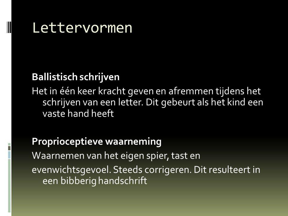 Lettervormen Ballistisch schrijven Het in één keer kracht geven en afremmen tijdens het schrijven van een letter. Dit gebeurt als het kind een vaste h