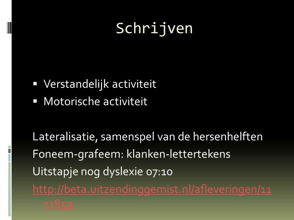 Schrijven  Verstandelijk activiteit  Motorische activiteit Lateralisatie, samenspel van de hersenhelften Foneem-grafeem: klanken-lettertekens Uitsta