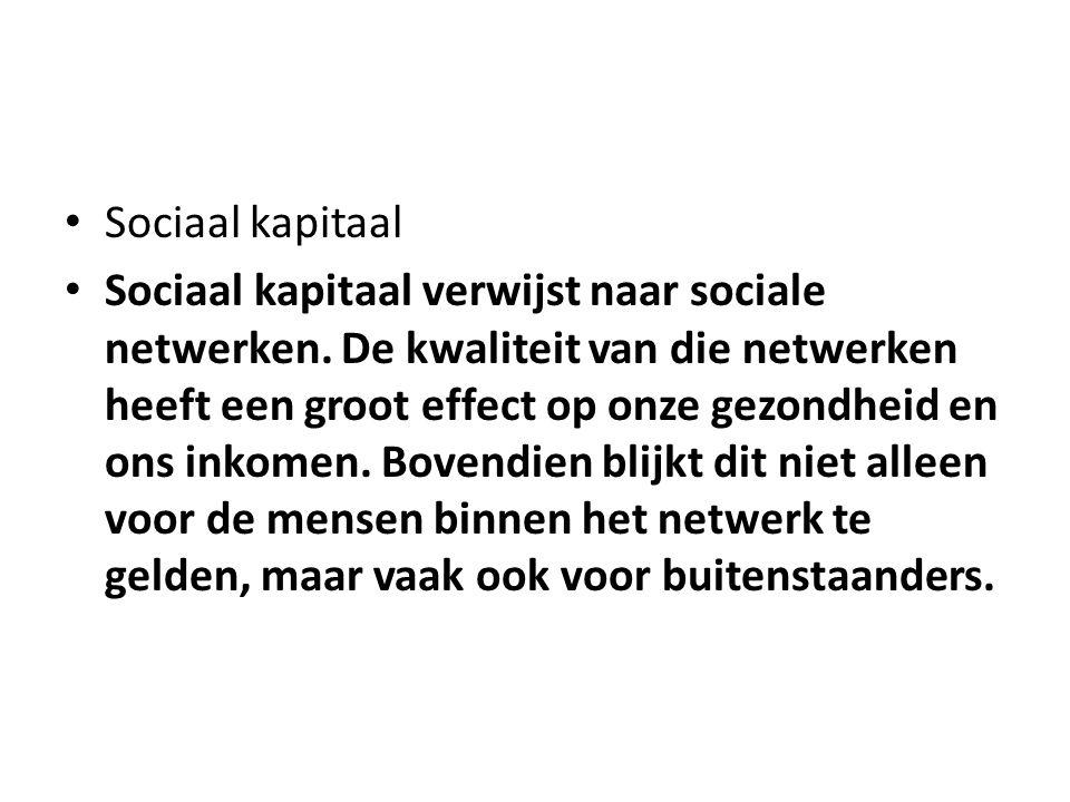 Sociaal kapitaal Sociaal kapitaal verwijst naar sociale netwerken.