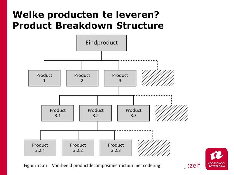 Welke producten te leveren? Product Breakdown Structure
