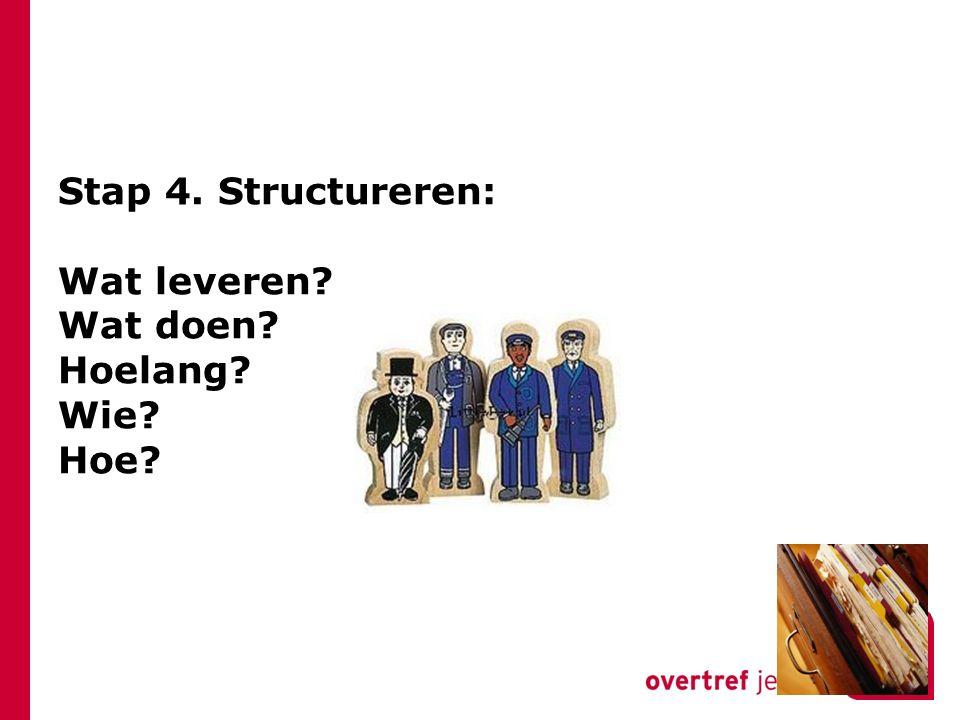 Stap 4. Structureren: Wat leveren? Wat doen? Hoelang? Wie? Hoe?