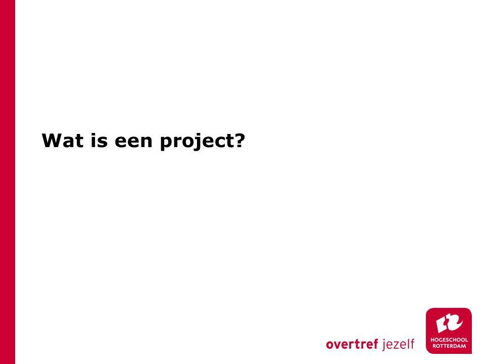 Project: Een geheel van activiteiten om in een tijdelijke projectorganisatie, binnen gestelde condities, een vooraf gedefinieerd resultaat te bereiken (NCB)