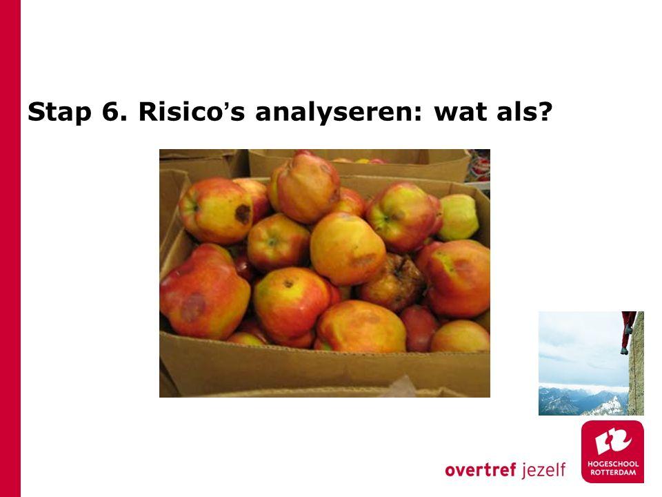 Stap 6. Risico's analyseren: wat als?