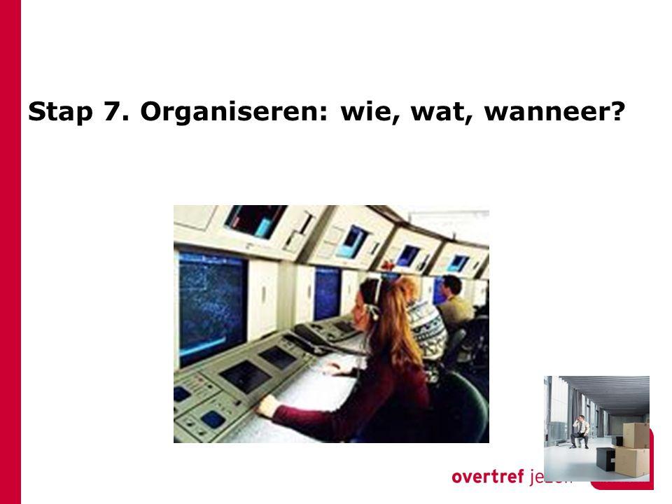 Stap 7. Organiseren: wie, wat, wanneer?
