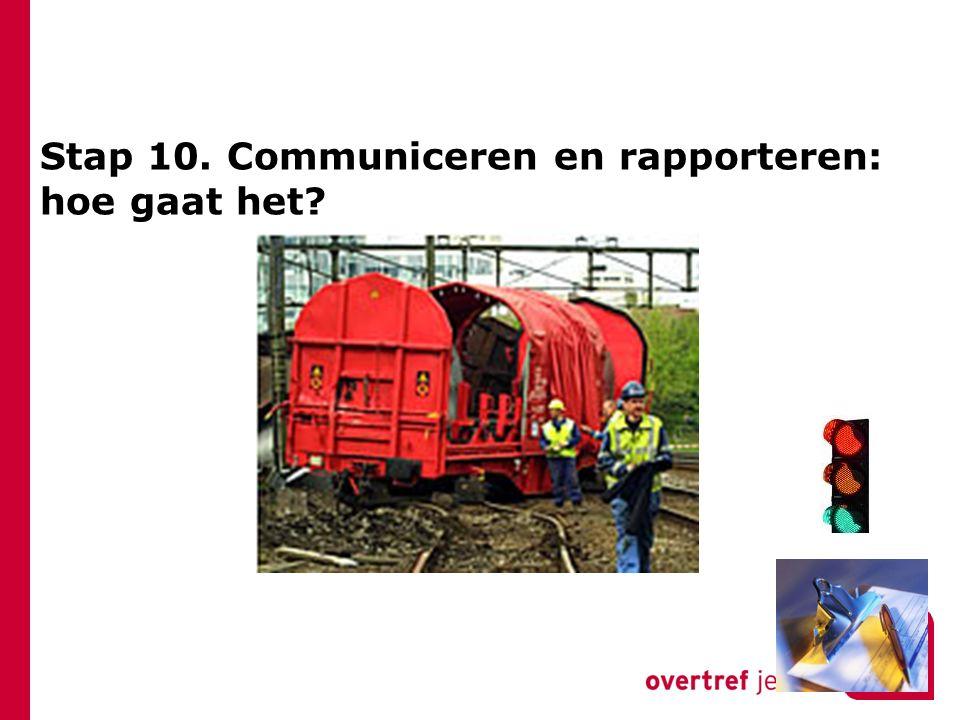 Stap 10. Communiceren en rapporteren: hoe gaat het?