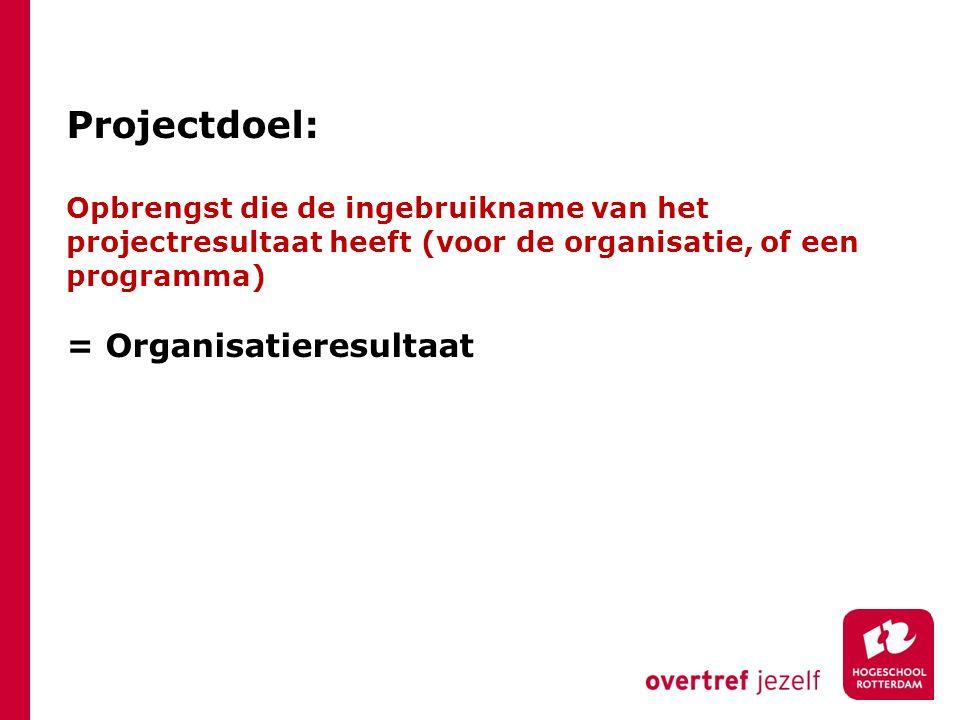 Projectdoel: Opbrengst die de ingebruikname van het projectresultaat heeft (voor de organisatie, of een programma) = Organisatieresultaat
