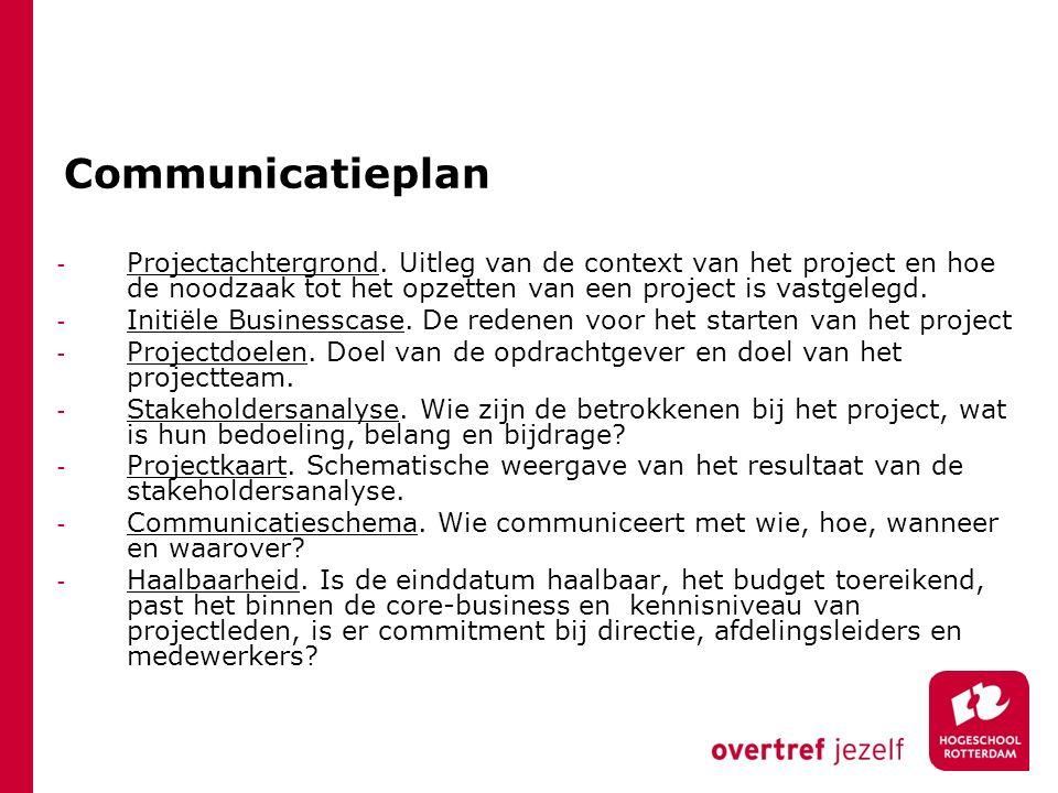 Communicatieplan - Projectachtergrond. Uitleg van de context van het project en hoe de noodzaak tot het opzetten van een project is vastgelegd. - Init
