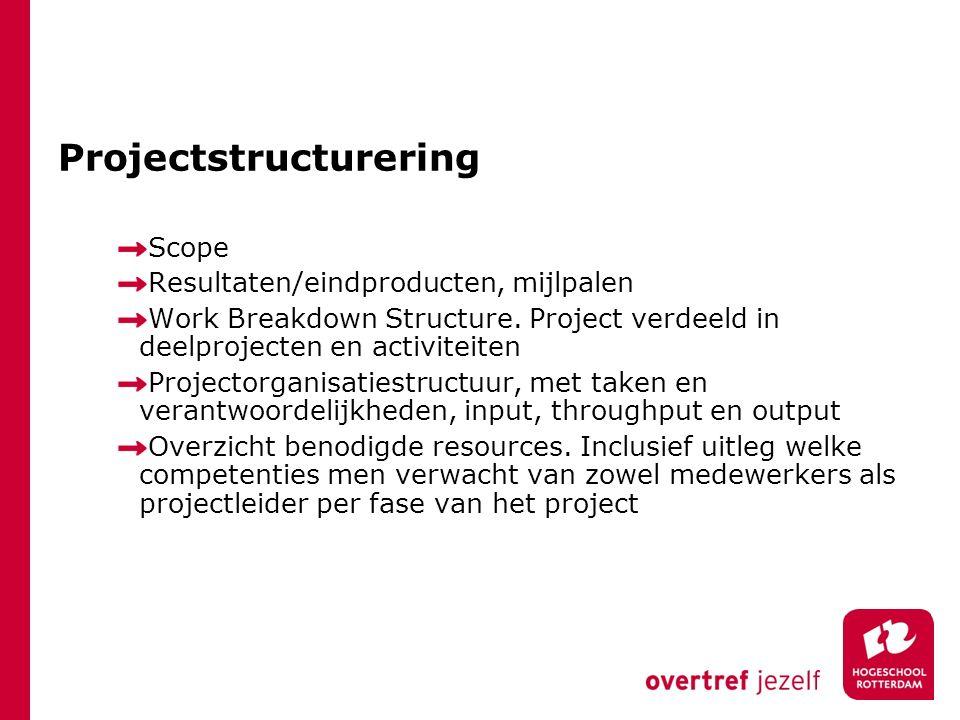 Projectstructurering Scope Resultaten/eindproducten, mijlpalen Work Breakdown Structure. Project verdeeld in deelprojecten en activiteiten Projectorga
