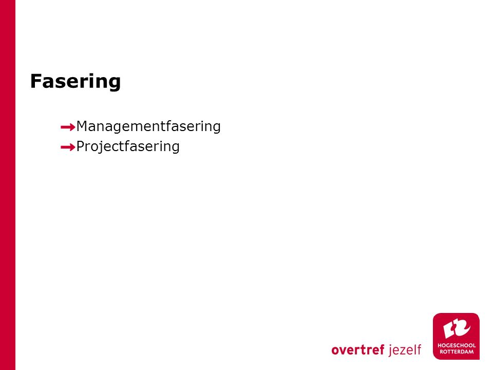 Fasering Managementfasering Projectfasering