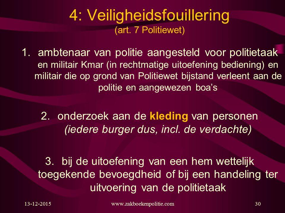 13-12-2015www.zakboekenpolitie.com30 4: Veiligheidsfouillering (art.