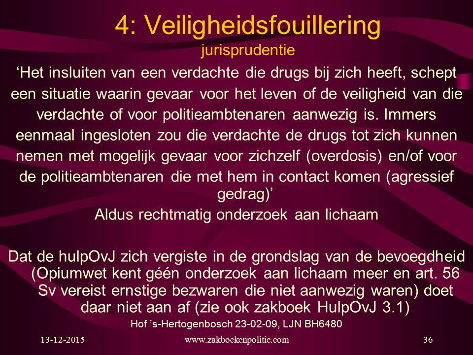 13-12-2015www.zakboekenpolitie.com36 4: Veiligheidsfouillering jurisprudentie 'Het insluiten van een verdachte die drugs bij zich heeft, schept een si