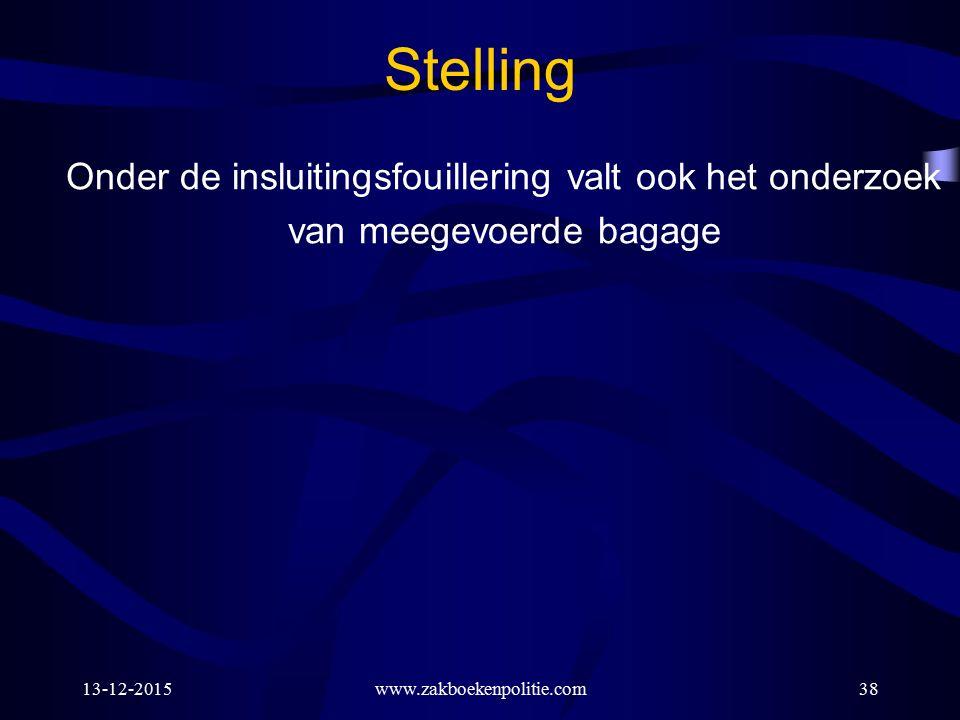 13-12-2015www.zakboekenpolitie.com38 Stelling Onder de insluitingsfouillering valt ook het onderzoek van meegevoerde bagage