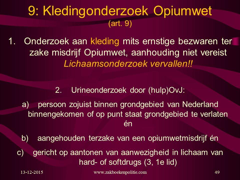 13-12-2015www.zakboekenpolitie.com49 1.Onderzoek aan kleding mits ernstige bezwaren ter zake misdrijf Opiumwet, aanhouding niet vereist Lichaamsonderzoek vervallen!.