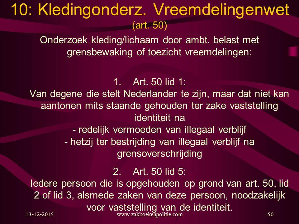 13-12-2015www.zakboekenpolitie.com50 Onderzoek kleding/lichaam door ambt. belast met grensbewaking of toezicht vreemdelingen: 1.Art. 50 lid 1: Van deg