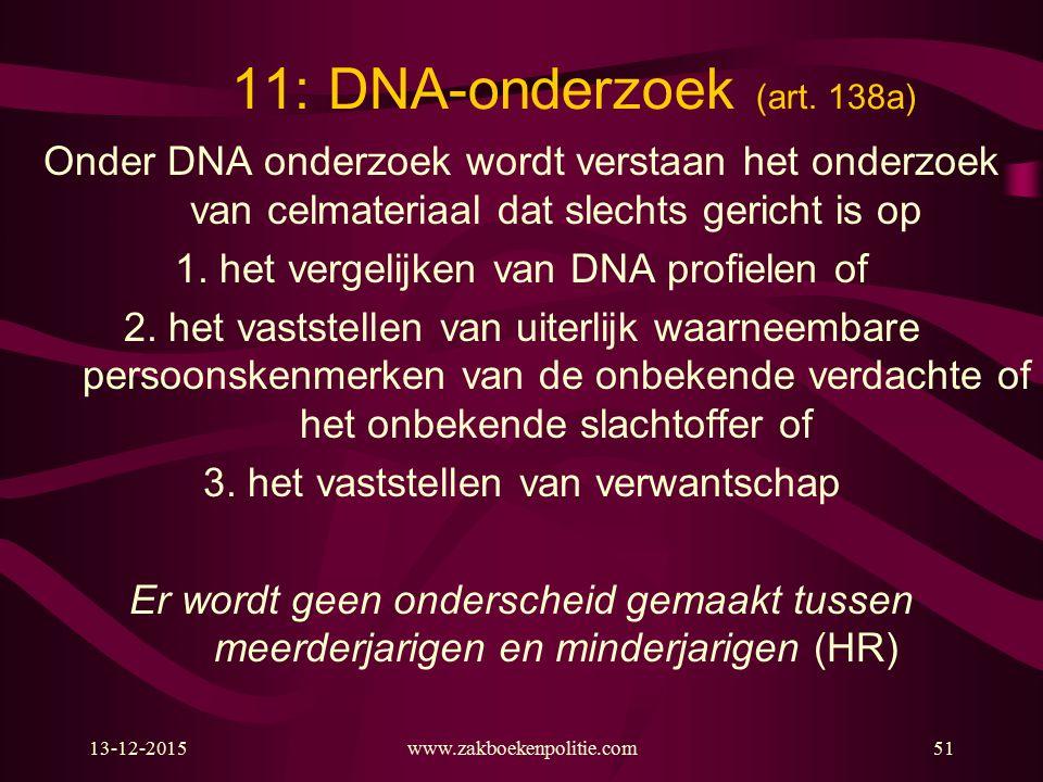 13-12-2015www.zakboekenpolitie.com51 11: DNA-onderzoek (art. 138a) Onder DNA onderzoek wordt verstaan het onderzoek van celmateriaal dat slechts geric