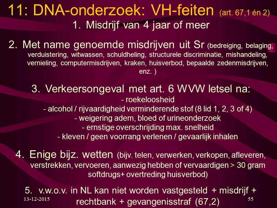 13-12-201555 11: DNA-onderzoek: VH-feiten (art. 67,1 én 2) 1.Misdrijf van 4 jaar of meer 2.Met name genoemde misdrijven uit Sr (bedreiging, belaging,