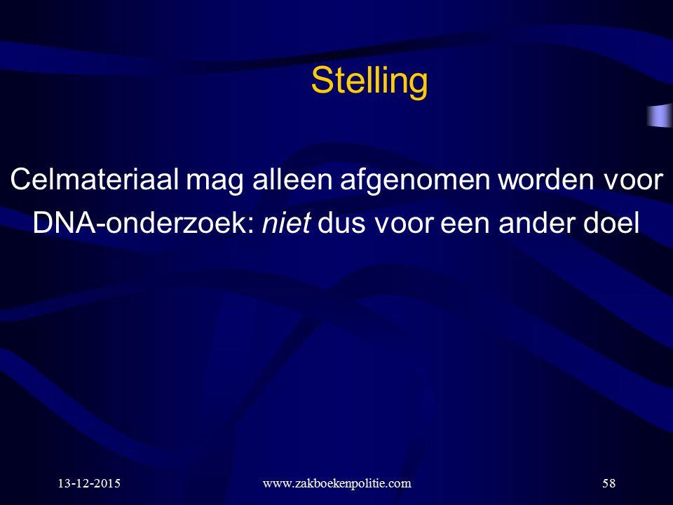 13-12-2015www.zakboekenpolitie.com58 Stelling Celmateriaal mag alleen afgenomen worden voor DNA-onderzoek: niet dus voor een ander doel