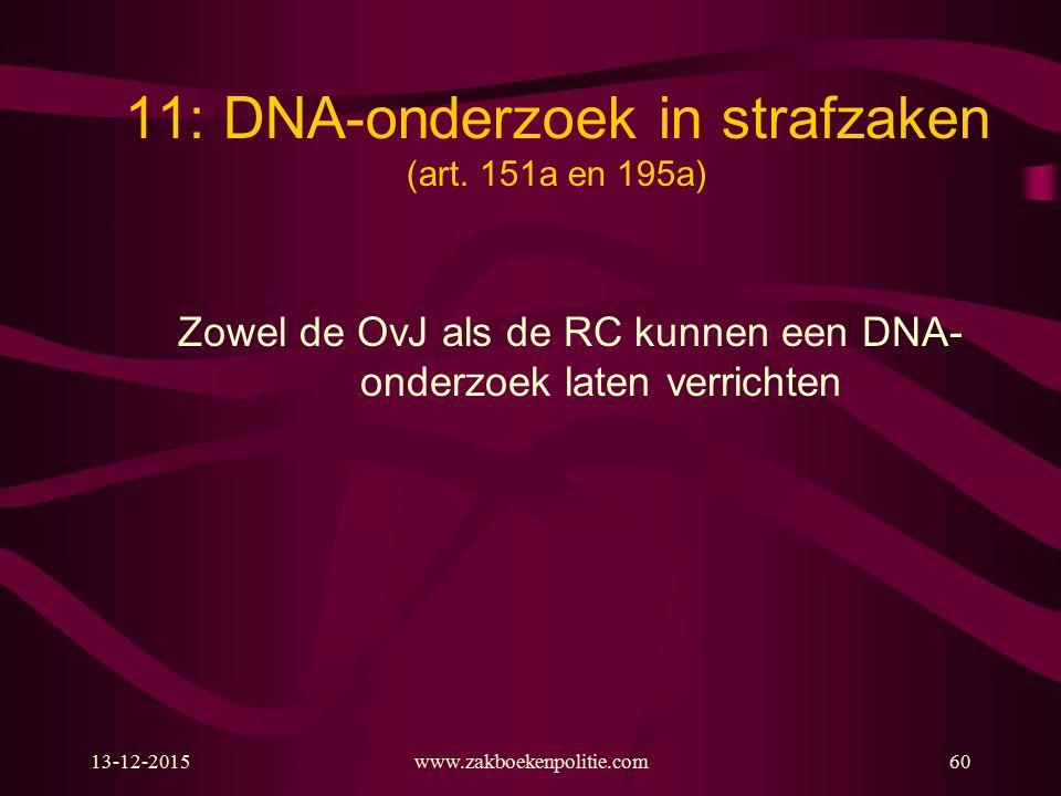 13-12-2015www.zakboekenpolitie.com60 11: DNA-onderzoek in strafzaken (art. 151a en 195a) Zowel de OvJ als de RC kunnen een DNA- onderzoek laten verric