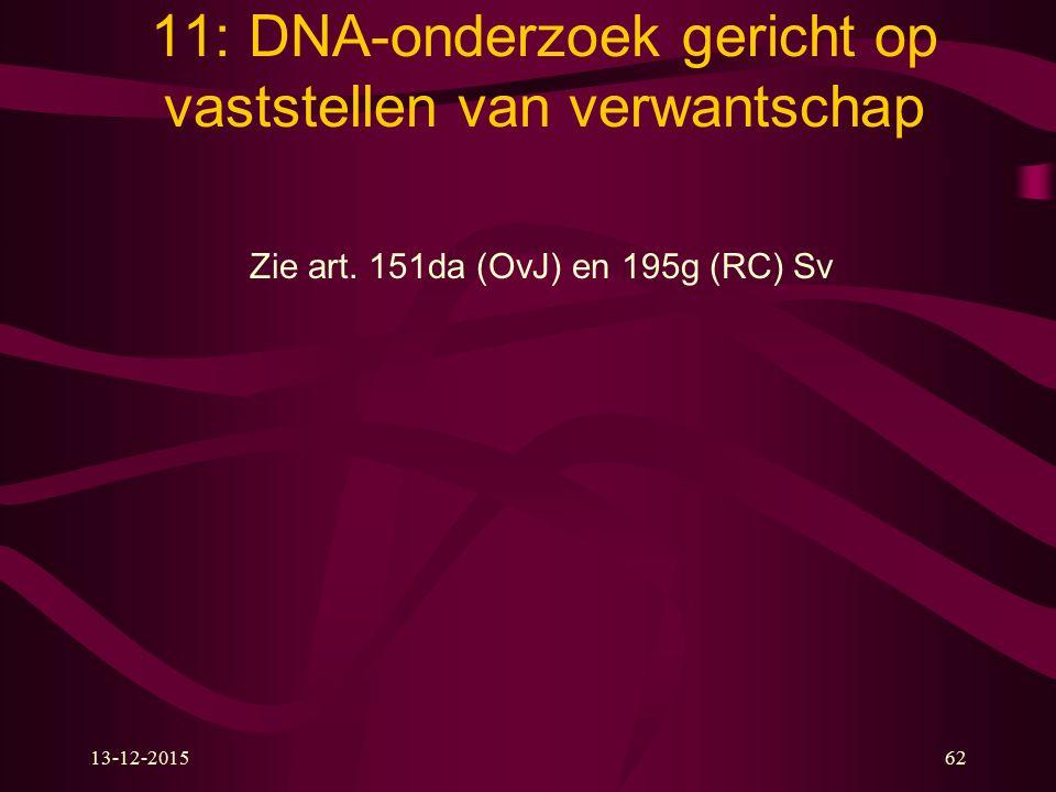 13-12-201562 11: DNA-onderzoek gericht op vaststellen van verwantschap Zie art. 151da (OvJ) en 195g (RC) Sv