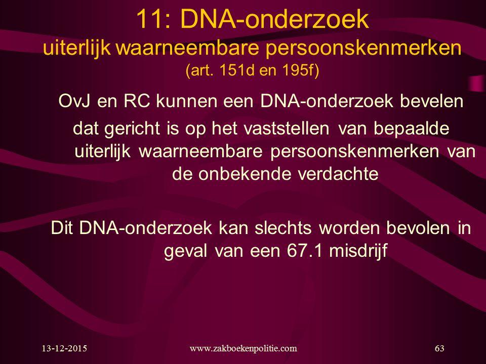 13-12-2015www.zakboekenpolitie.com63 11: DNA-onderzoek uiterlijk waarneembare persoonskenmerken (art. 151d en 195f) OvJ en RC kunnen een DNA ‑ onderzo