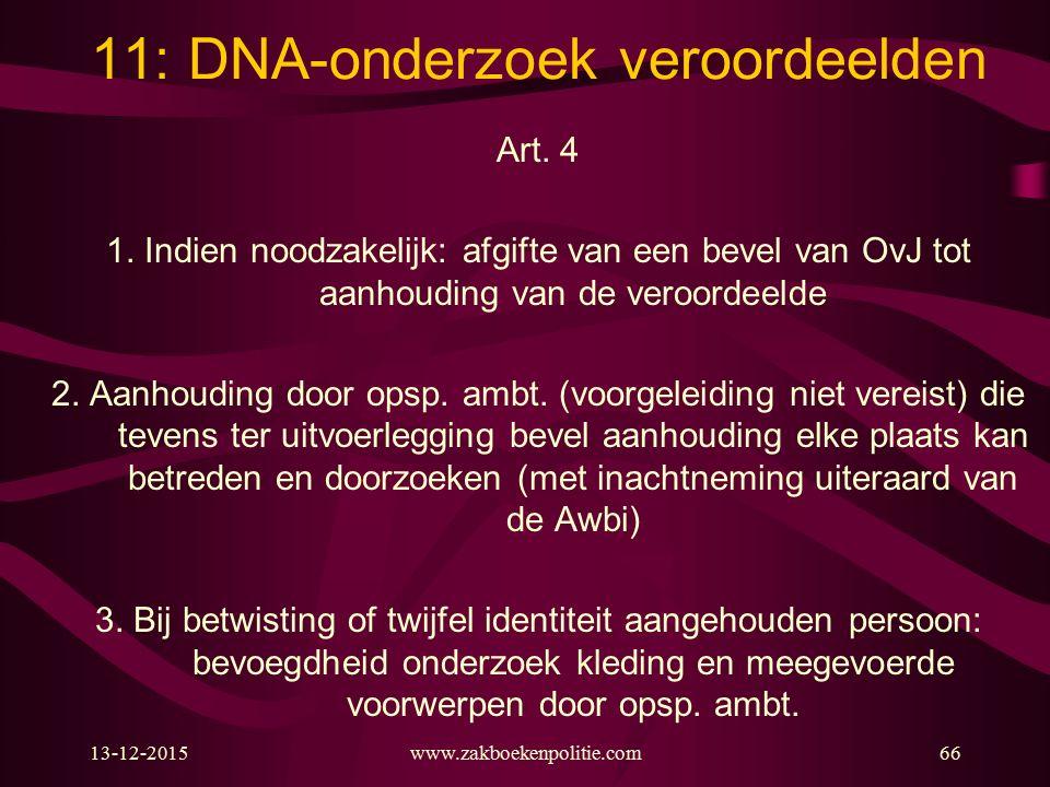 13-12-2015www.zakboekenpolitie.com66 11: DNA-onderzoek veroordeelden Art. 4 1. Indien noodzakelijk: afgifte van een bevel van OvJ tot aanhouding van d