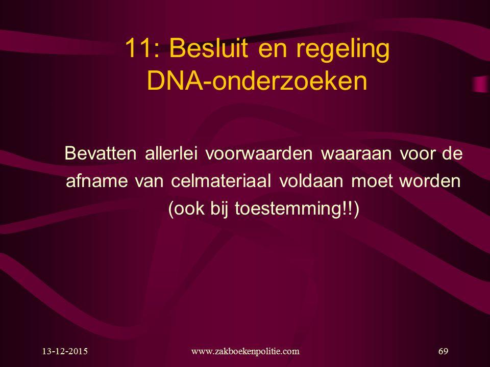 13-12-2015www.zakboekenpolitie.com69 11: Besluit en regeling DNA-onderzoeken Bevatten allerlei voorwaarden waaraan voor de afname van celmateriaal voldaan moet worden (ook bij toestemming!!)