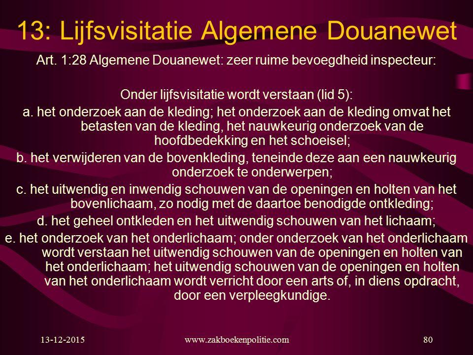 13-12-2015www.zakboekenpolitie.com80 13: Lijfsvisitatie Algemene Douanewet Art.