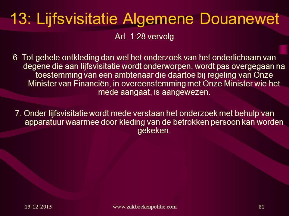 13-12-2015www.zakboekenpolitie.com81 13: Lijfsvisitatie Algemene Douanewet Art. 1:28 vervolg 6. Tot gehele ontkleding dan wel het onderzoek van het on
