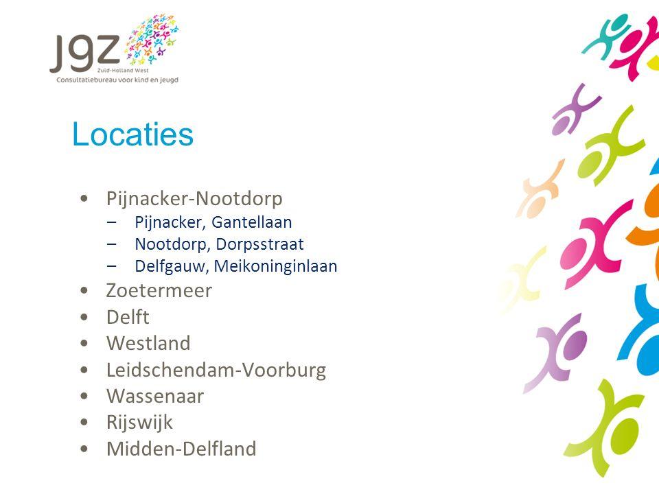 Locaties Pijnacker-Nootdorp –Pijnacker, Gantellaan –Nootdorp, Dorpsstraat –Delfgauw, Meikoninginlaan Zoetermeer Delft Westland Leidschendam-Voorburg Wassenaar Rijswijk Midden-Delfland