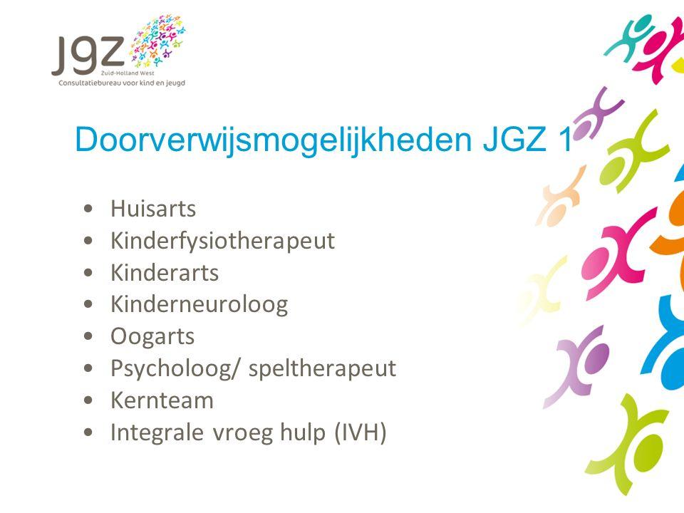 Doorverwijsmogelijkheden JGZ 1 Huisarts Kinderfysiotherapeut Kinderarts Kinderneuroloog Oogarts Psycholoog/ speltherapeut Kernteam Integrale vroeg hulp (IVH)