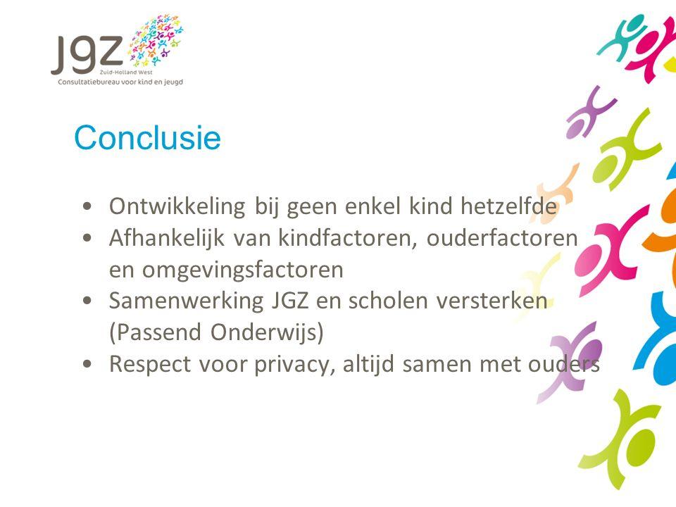 Conclusie Ontwikkeling bij geen enkel kind hetzelfde Afhankelijk van kindfactoren, ouderfactoren en omgevingsfactoren Samenwerking JGZ en scholen versterken (Passend Onderwijs) Respect voor privacy, altijd samen met ouders