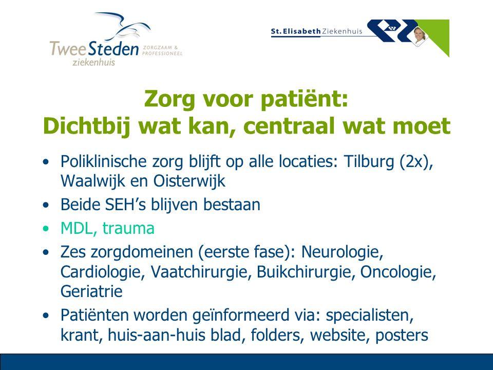 Zorg voor patiënt: Dichtbij wat kan, centraal wat moet Poliklinische zorg blijft op alle locaties: Tilburg (2x), Waalwijk en Oisterwijk Beide SEH's bl