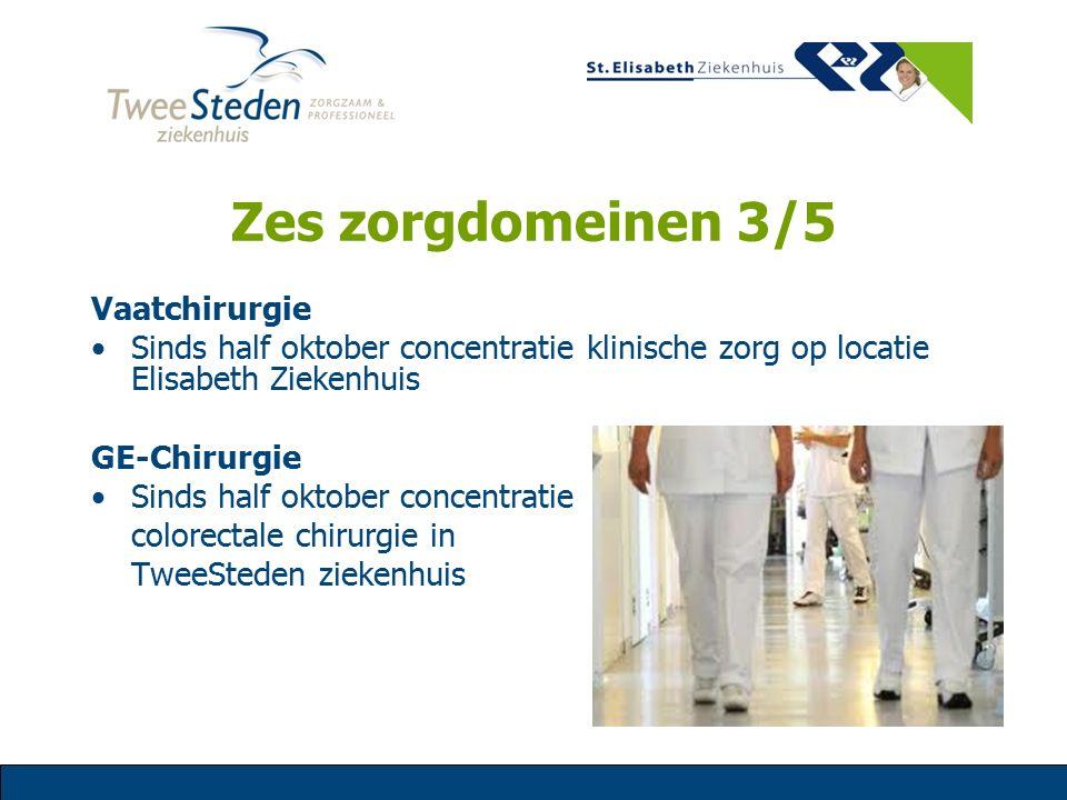 Zes zorgdomeinen 3/5 Vaatchirurgie Sinds half oktober concentratie klinische zorg op locatie Elisabeth Ziekenhuis GE-Chirurgie Sinds half oktober conc